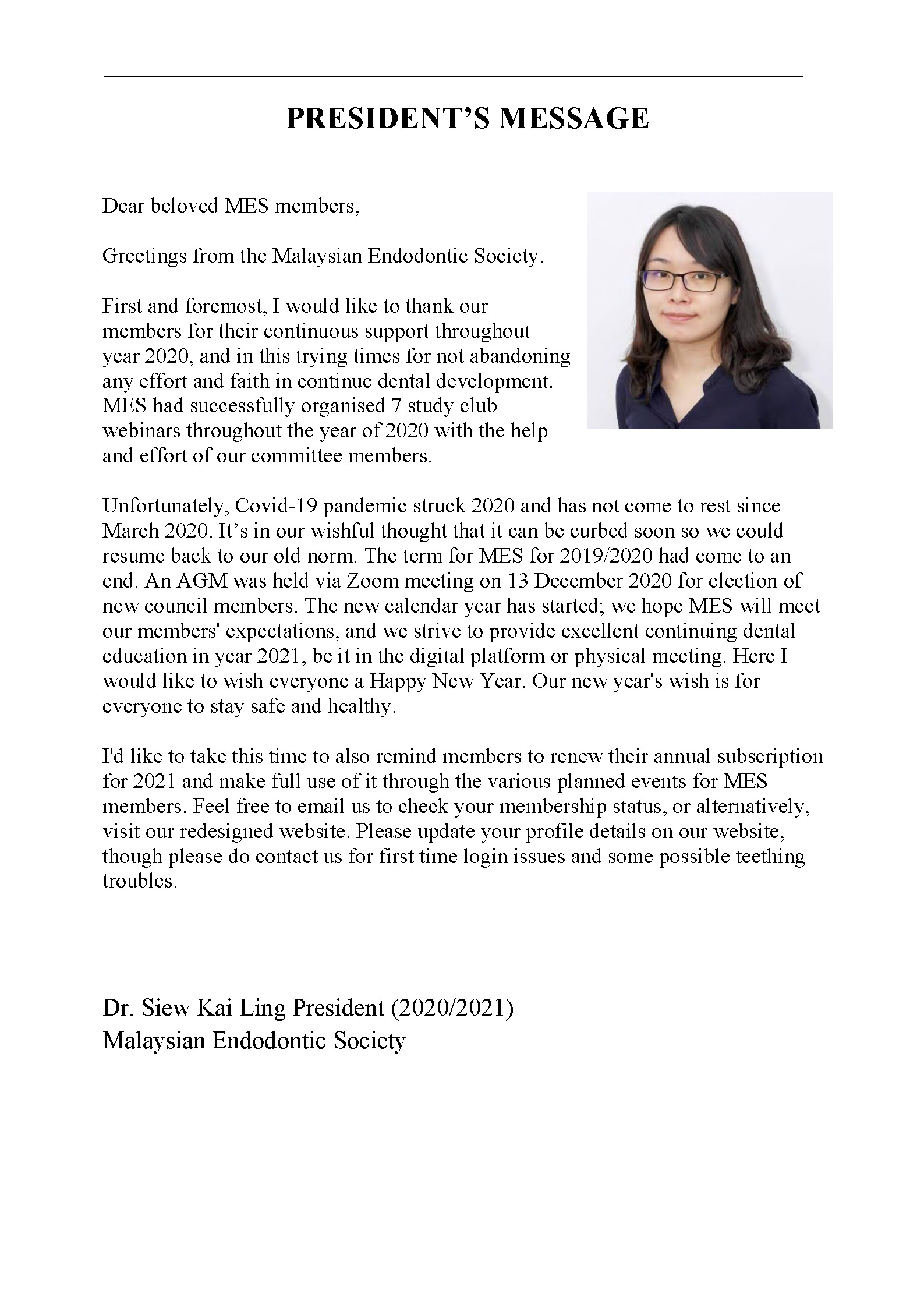 MES President's New Year Message